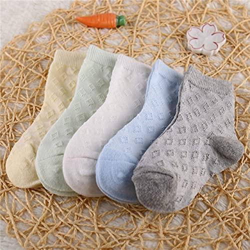 5 par/Lote de Calcetines de algodón para niños, niñas y bebés, Calcetines de Malla sólida Transpirables a la Moda ultrafinos para Verano 1-12T, Adolescentes, niños-a15-M (3-5 Years)
