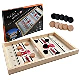 aotipol Fast Sling Puck Game, Table Top Wooden Hockey Game, Winner Board Games for Family Adult Kids, Fun Medium Size (14.5 x 9 in), 2 Player Games Pine Wood Party Toy