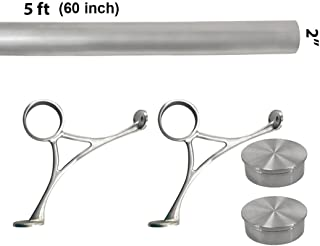 Top Hardware Bar Foot Rail Kit (Custom-Made Item) - Brushed Stainless Steel Tubing (2 in OD, 5 ft Length) - Combination Foot Rail Brackets - Flat End Caps