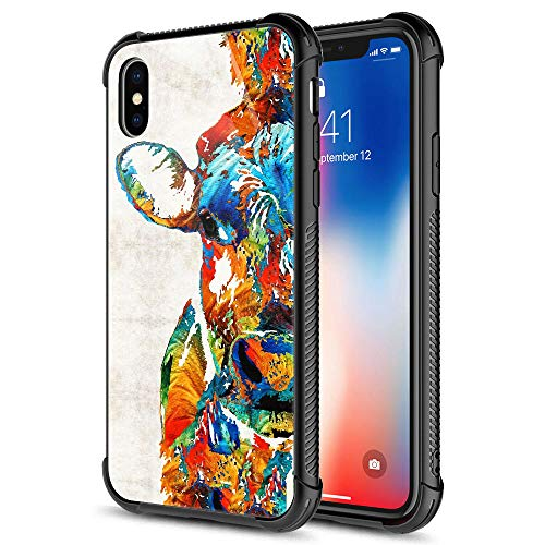 iPhone XR Case,Colorful Abstract Cow iPhone XR Cases for Girls Boys,9H Tempered Glass Graphic Design Shockproof Anti-Scratch Tempered Glass Case for Apple iPhone XR