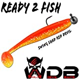 Angel-Berger Wild Devil Baits Swing Shad Loaded Gummifisch Shad (Red Devil, 10cm)
