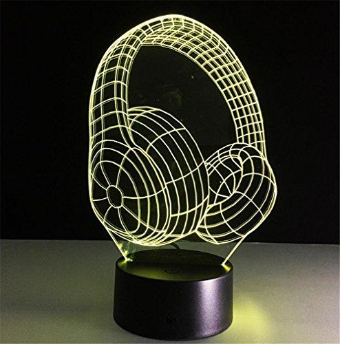 Veilleuses Illusions Optiques Casque lampe de bureau 3d 7 couleurs Changement tactile interrupteur à distance Tableau de commande LED Night Light Lighting Décoration Accessoires pour la maison