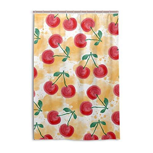 FANTAZIO Duschvorhang Fresh Aquarell Kirschen Polyester Badevorhang mit dicken C-förmigen Haken für Badezimmer, wasserdicht, 1 Stück, 121,9 x 182,9 cm