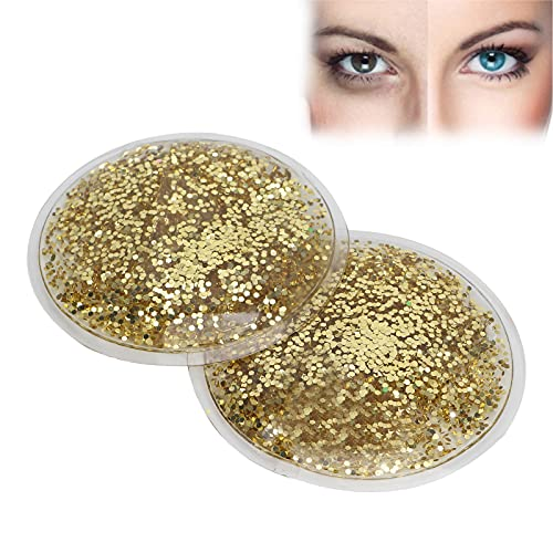Gel Eye Pack, Hot Cold Compress Eye Gel Ice Packs Reusable Cooling Eye Cover for Dark Circles Puffiness Cold Eye Mask Gift for Girl Women(Gold)