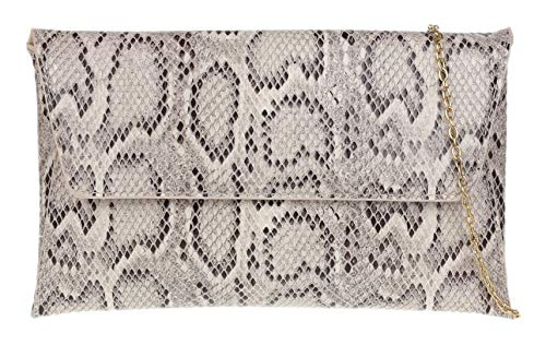 Girly Handbags de piel de serpiente del bolso de embrague del sobre (Beige)