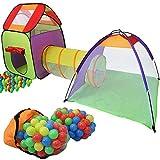 KIDUKU Kinderspielzelt Bällebad Pop Up Spielzelt Iglu Spielhaus + Krabbeltunnel + 200 Bälle