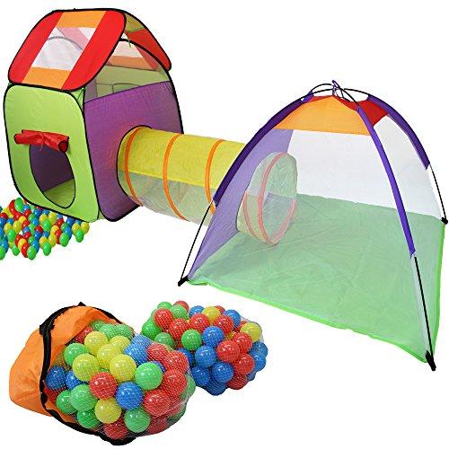 KIDUKU Kinderspielzelt Bällebad Pop Up Spielzelt Iglu Spielhaus + Krabbeltunnel + 200 Bälle + Tasche, für drinnen und draußen