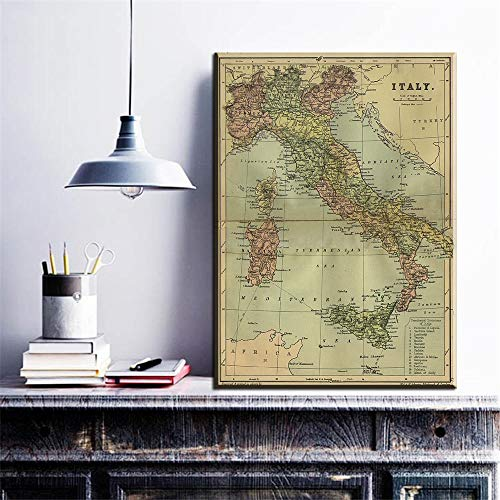 Weltkarte Italien Landkarte moderne Hauptwanddekoration Leinwand Bildkunst HD-Druck Malerei Set rahmenlose Hauptdekoration Malerei A64 70x100cm