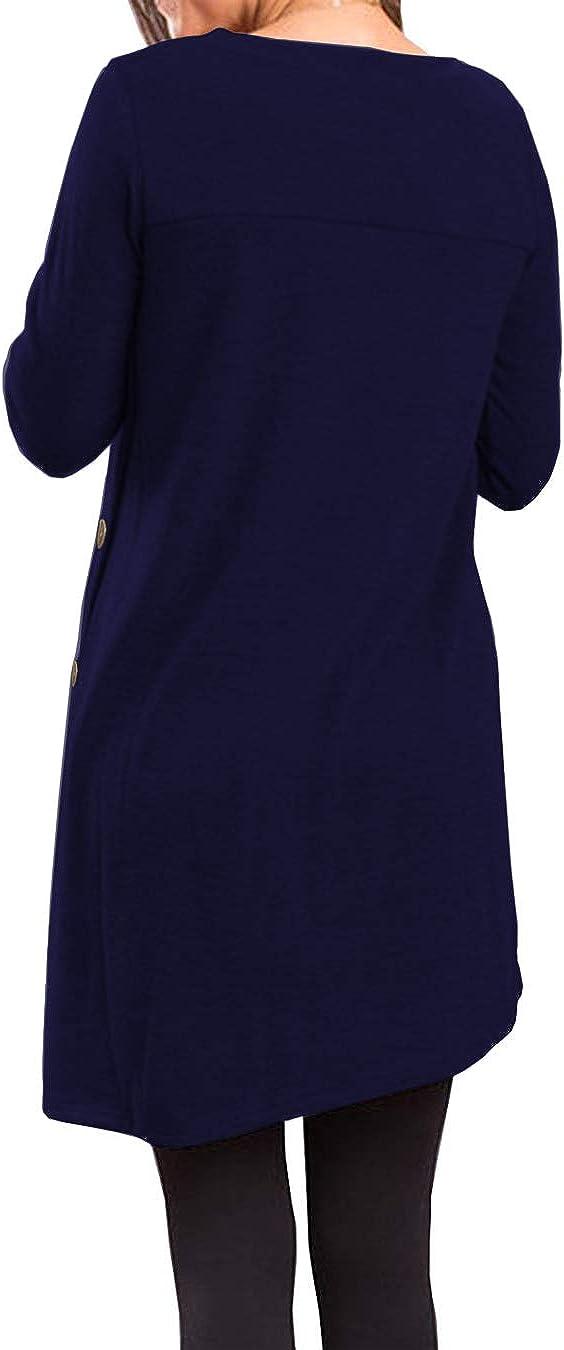 KORSIS Womens Long Sleeve Round Neck Button Side T Shirts Tunic Dress