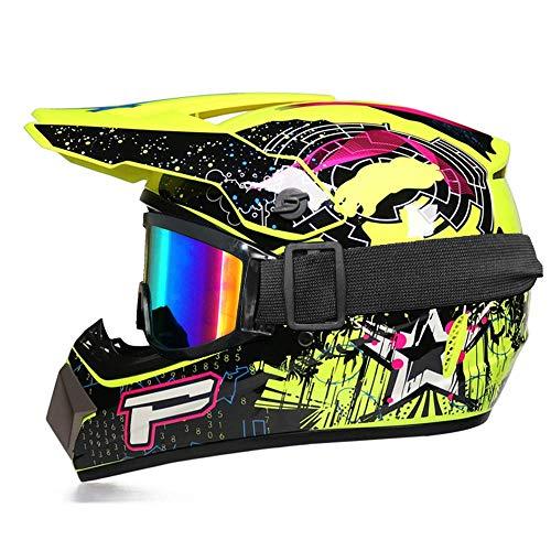 Juego de casco de motocross (gafas/guantes/máscara) para niños, casco de bicicleta de...