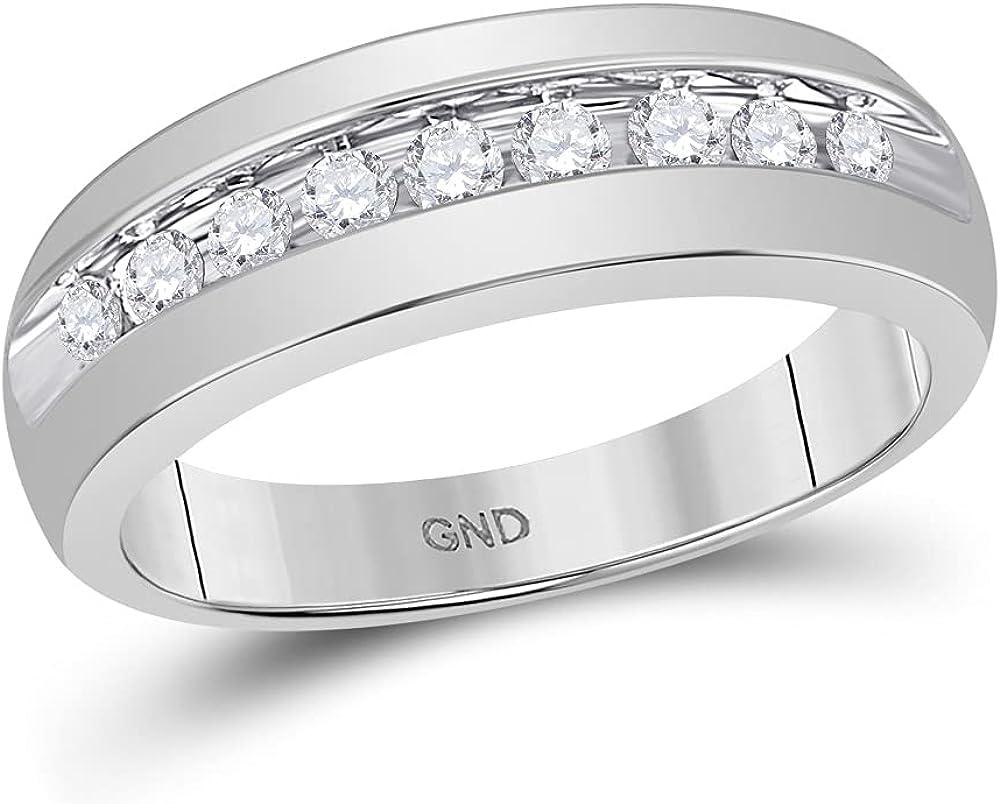 List price 10kt White Gold High quality new Mens Round Anniversar Wedding Single Diamond Row