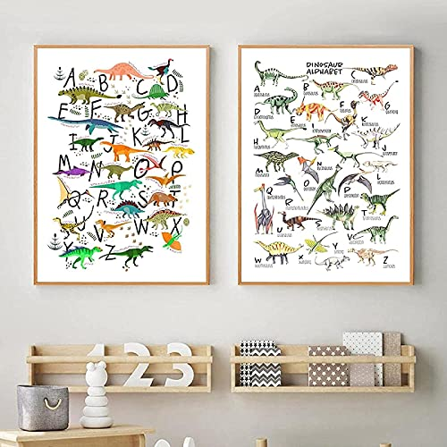 SHKHJBH Arte de Pared Abstracto Acuarela Alfabeto Dinosaurio Especie Animal Póster ABC Aprendizaje Letra Imprimir Niños Guardería Arte de la Pared Decoración 2 Piezas 60x80cm sin Marco