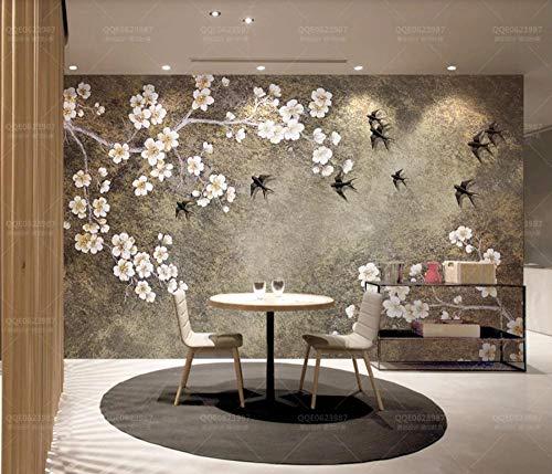 Fototapete 3D Tapete Weinlese-Chinesische Pflaumen-Schwalbe Tapeten Vliestapete 3D Effekt Wandbild Wanddeko Wandtapete