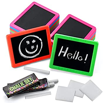 Neon Chalkboard Set for Kids -  Pack of 24  Mini Chalk Boards Each with 2 Chalk Sticks and 1 Eraser for Boys and Girls Birthday Party Favors for Kids Goodie Bags