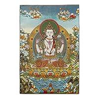 シルク刺繡チベットタンカ仏教グリーンタラ壁掛けホームDé corタンカ瞑想