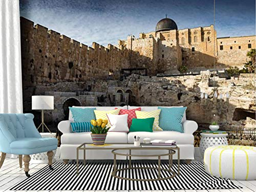 Wall Mural view to jerusalem old city israel the promised lands and pictures Peel and Stick Wallpaper Self Adhesive Wallpaper Large Wall Sticker Removable Vinyl Film Roll Shelf Paper Home Decor