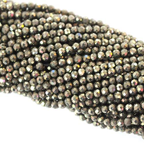 Tacool - Cuentas de piedras preciosas naturales facetadas de 3 mm, pequeñas y redondas para hacer collares y joyas