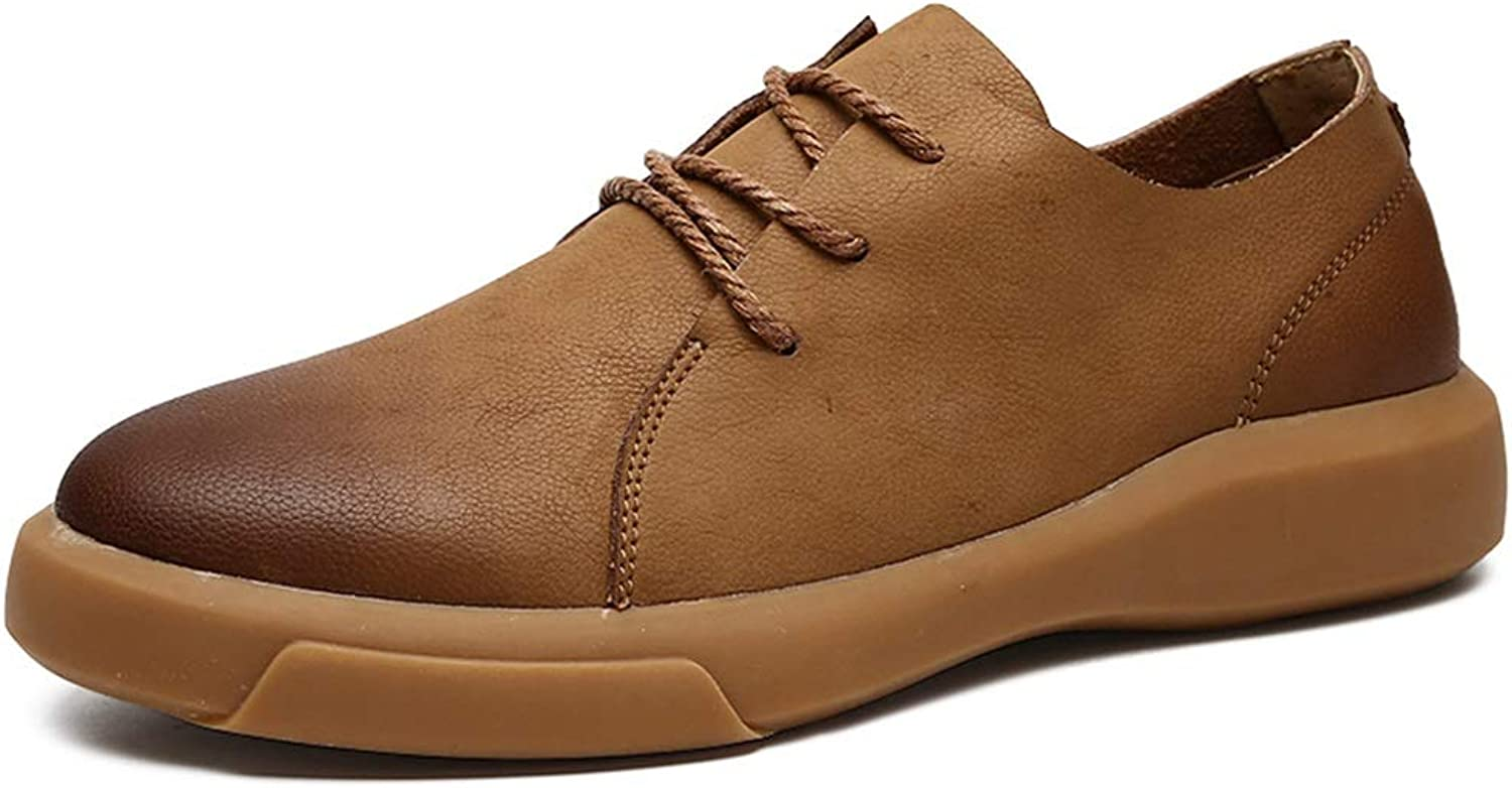 CHENXD shoes, Men's Fashion Round Toe Oxford Casual Outsole Retro Wipe color Lace Up Formal shoes