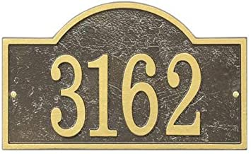 Fast & Easy Collection FEA1OG Arch House Numbers Plaque with Cut-Out Shape Made in The USA Alumi-Shield All Weather Coating and Aluminum Material in Bronze and Gold Finish