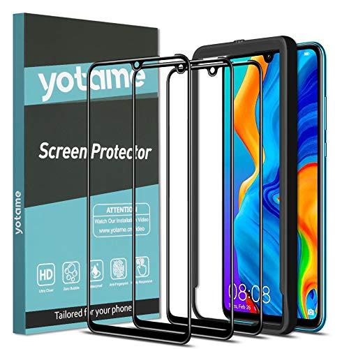 yotame 3 Piezas Cobertura Completa Cristal Templado Huawei P30 Lite, [9H Dureza] [Equipado con Marco de posicionamiento] [Sin Burbujas] Protector de Pantalla para Huawei P30 Lite - negro