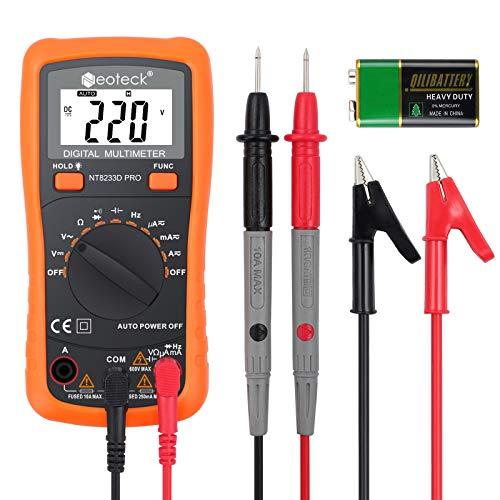 Neoteck デジタルマルチメーター 電圧 電流 抵抗 導通チェック 周波数 ダイオード コンデンサー測定 ワニ口クリップ付き 日本語説明書付き 電池付き (オレンジ)