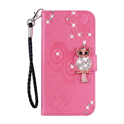 BONITEC for iPhone 11 Wallet Case, Cute Cartoon Animal Owl Embossed Mandala Flower Carve PU Leather Credit Card Slot Flip Cover Kickstand with Strap Magnet Clip case