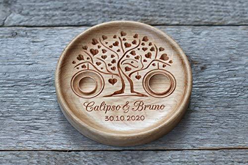 Ringschale Hochzeit aus Holz mit gravierten Namen und Datum, Ringkissen Hochzeit, Ringträger für die Hochzeit, Hochzeitsgeschenk, Baum der Herzen, Tree of Hearts.