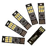 Yitee USB Light Keychain Super Bright SMD LED Mini USB Port Light Ultra-Thin Portable Night Light (6-LED Touch Dimmer Switch(5pcs))