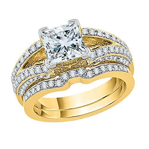 KATARINA Set de novia de diamantes redondos y de corte princesa en oro de 14 k (1 5/8 quilates | J-K, SI2-I1)