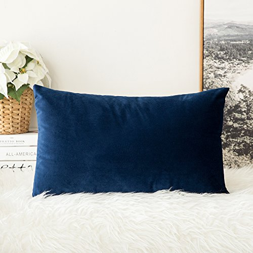 MIULEE Velvet Soft Decorative Square Throw Pillow Case Cushion Covers Pillowcases for Livingroom Sofa Bedroom with Invisible Zipper 30cm x 50cm 12x20 Inch 1 Piece Navy Blue