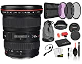 Canon EF 17-40mm f/4L USM Lens (8806A002) Lens with Bundle Package Kit Includes 3pc Filter Kit (UV, CPL, FLD) + Deluxe Lens Cleaning Kit + More