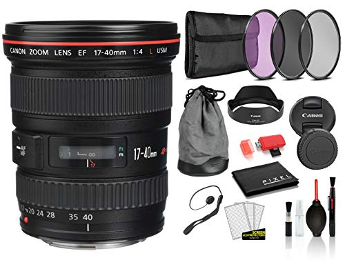 Canon EF 17-40mm f/4L USM Lens (8806A002) Lens with Bundle Package Deal Kit Includes 3pc Filter Kit (UV, CPL, FLD) + Deluxe Lens Cleaning Kit + More