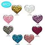 Diamond Painting Cover Minder 8PCS Glitter Heart Magnet Cover Holder for Painting with Diamonds Parchement Paper Cover, for Adults Art Craft