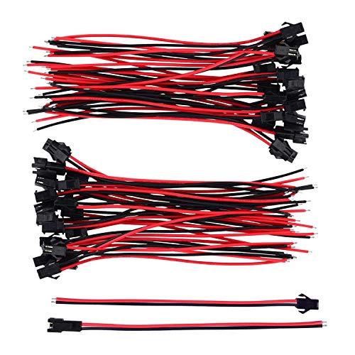 Sweieoni40 Pares Conector de Enchufe de 22 AWG JST, Macho a Hembra Cable Adaptador de Conector, 2 Pines 22 AWG JST SM con 150 mm Alambre de Cable Eléctrico para LED Luz