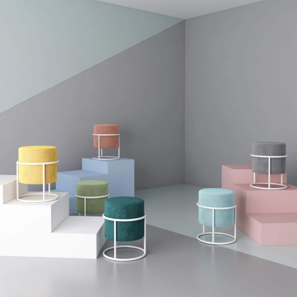 Changement de banc à chaussures Support en métal rond tapissé de tabouret de chaise de chambre à coucher de balcon de tabouret de chaise de chaise, 36 * 47cm (Color : Blue) Black
