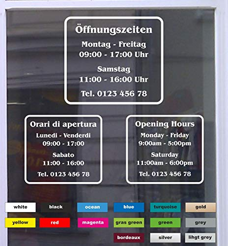 Don Cappello Öffnungszeiten Klassik Schaufensterbeschriftung Aufkleber Werbung Laden Geschäft Weiß Breite 30 cm