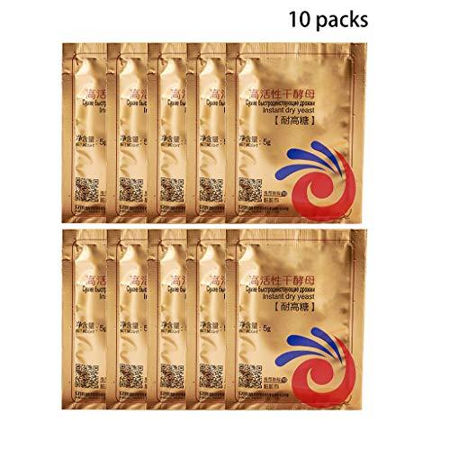Dengengeng, 10 sacchetti da 50 g di pane istantaneo a secco, ad alta tolleranza di glucosio, lieviti attivi secchi per pane e lievito attivo secco