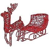 Tomaibaby Reno Y Trineo Conjunto de Trineo de Estilo Hueco con Reno de Navidad Arte de Hierro Decoración de Navidad Decoración de Vacaciones de Hierro Estatua de Escritorio Ornamento para