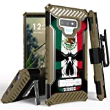 Beyond Cell Trishield Series Compatible with Note9 Case/Military Grade Rugged Cover + [Metal Kickstand]+[Belt Clip Holster] Compatible with Samsung Galaxy Note 9 (2018) - Mexican Flag Skull