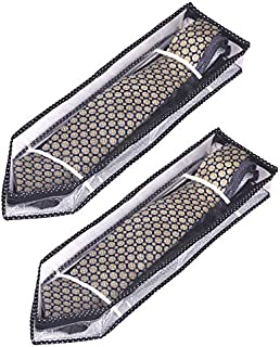 Srajanaa All Seasons Men's Silver Tie Cover/Wardrobe Organizer with Zip Closure (Pack of 2)(Keep Up to 6-8 Tie per Cover)