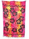 Sarong Pareo Hibiskus Batik Style III pink-gelb-orange/große Auswahl schönste Farben/Wickelrock Strandtuch Sauna-Tuch Wickelkleid Schal Wickeltuch Bademode Freizeitmode Sommermode/aus 100% Viskose