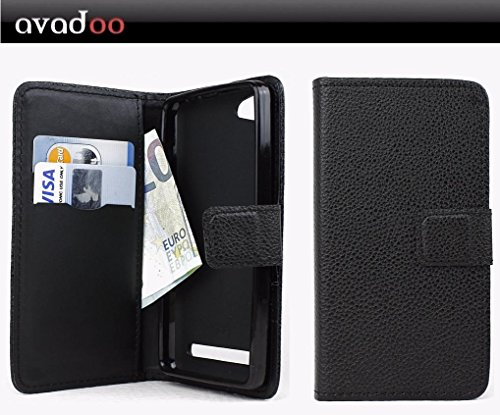 avadoo® Archos 45d Platinum Flip Case Cover Tasche Schwarz mit Magnetverschluss & Dualnaht als Cover Tasche Hülle