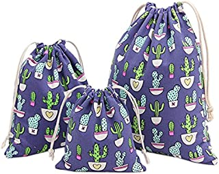 SODIAL 3pcs Fashion Folding Bundle Mouth Gift Bag Dark Blue Cactus 61#