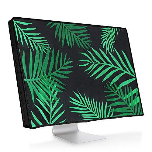 """kwmobile Cover Compatibile con 27-28"""" Monitor - Protezione Cover per Monitor PC Antipolvere per Schermo Computer - Custodia Protettiva - Palme Verde/Verde Scuro/Nero"""