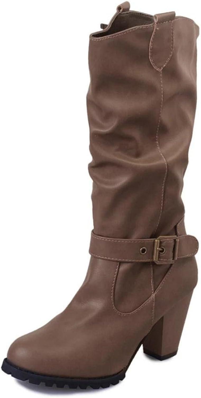 AMA(TM) Women Autumn Winter Leather Buckle Boots Fashion Retro Martin Boots