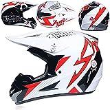 ZYW Jóvenes Niños Motocross Casco, certificación ATV Scooter Descenso MX Casco de la Motocicleta D.O.T/Enviar Guantes Gafas de máscara, S, M, L, XL,Blanco,L