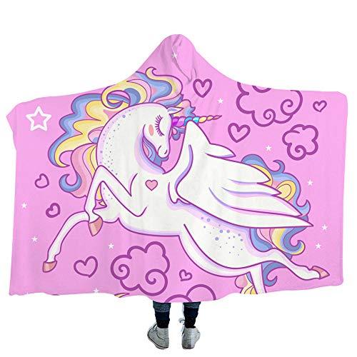 Unicorn Blanket Double Drape Kapuze Plüsch Verschleißfeste Wickel Sofa Decke Adult Blanket-150x200cm