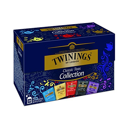 Twinings Selection Schwarztee Teebox, Eine delikate Auslese von Schwarztee Mischungen ∙ Earl Grey, Lady Grey, Darjeeling, English Breakfast, Prince of Wales Tea 8er Pack (8 x 40 g)