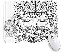 NIESIKKLAマウスパッド 男口ひげあごひげ羽大人のぬりえ ゲーミング オフィス最適 高級感 おしゃれ 防水 耐久性が良い 滑り止めゴム底 ゲーミングなど適用 用ノートブックコンピュータマウスマット
