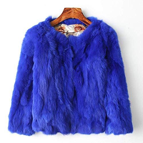 WQDS Pelzmantel Damenmantel natürlicher Vollleder Pelzmantel Mode schlanker Mantel-6 Blau_Büste 96 cm